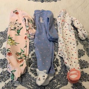 Carter's Baby Sleeper Set Footed Floral Kitty NB